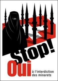 Affiche de la campagne UDC pour l'initiative visant à interdire la construction de minarets