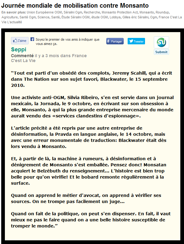 Commentaire de Wackes Seppi du 28 mai 2013 sous l'article de Mme Lepage.