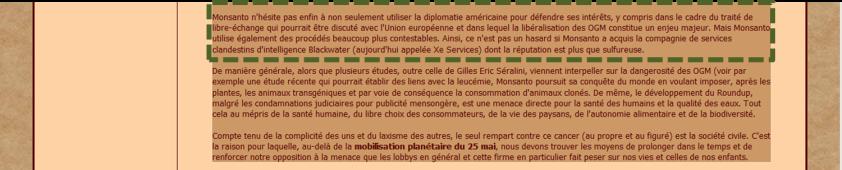 Capture d'écran d'un commentaire sur le forum Les Petites Magies reprenant l'intégral de l'article et dans lequel apparaît le passage original.