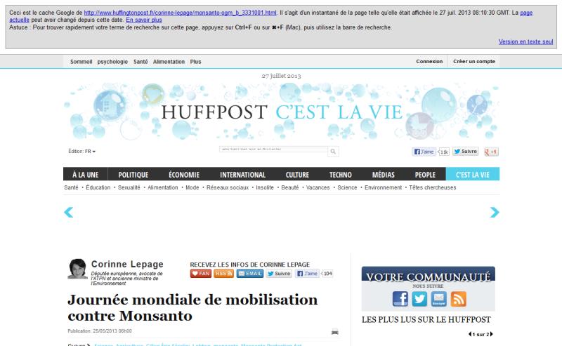 Capture d'écran de la partie supérieure de la page où apparaît l'article de Mme Lepage telle qu'elle se présente au 27 juillet 2013.