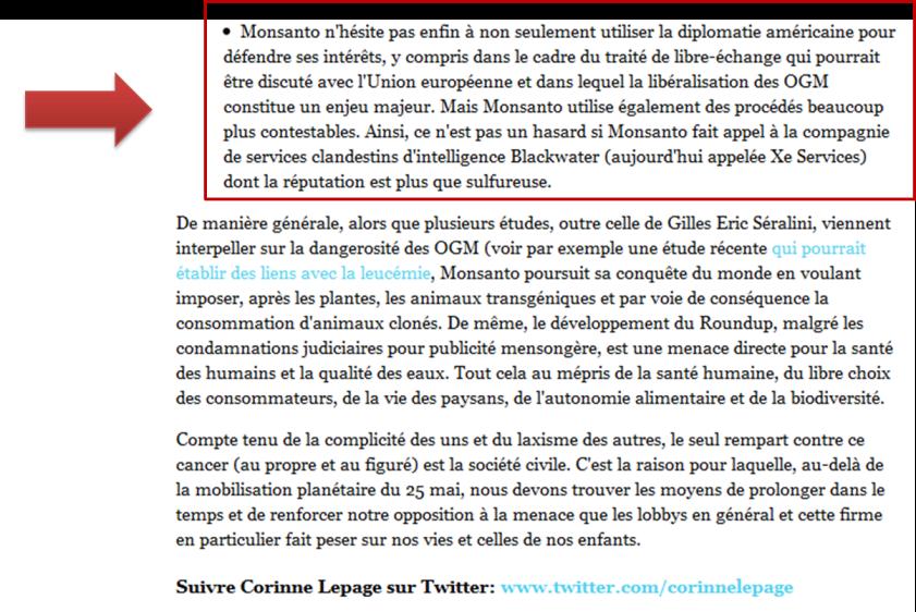Capture d'écran du passage changé en douce tel qu'il apparaît dans la page en cache du 27 juillet 2013.