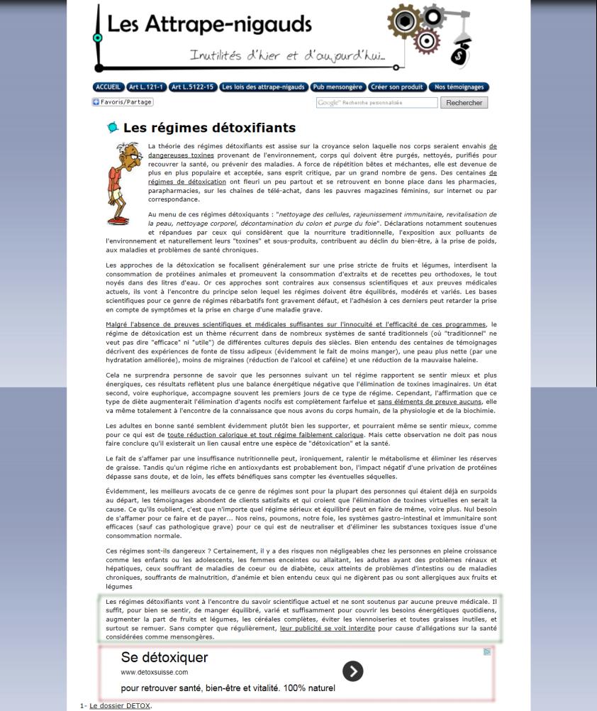 Capture d'écran de l'article sur les régimes détoxifiants sur le site Les Attrape-Nigauds: inutilités d'hier et d'aujourd'hui. En bas, on voit clairement la publicité pour Detoxsuisse!