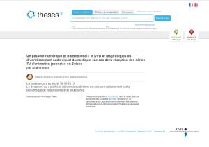 Capture d'écran de ma page sur le répertoire national Thèses.fr. au 6 février 2014.