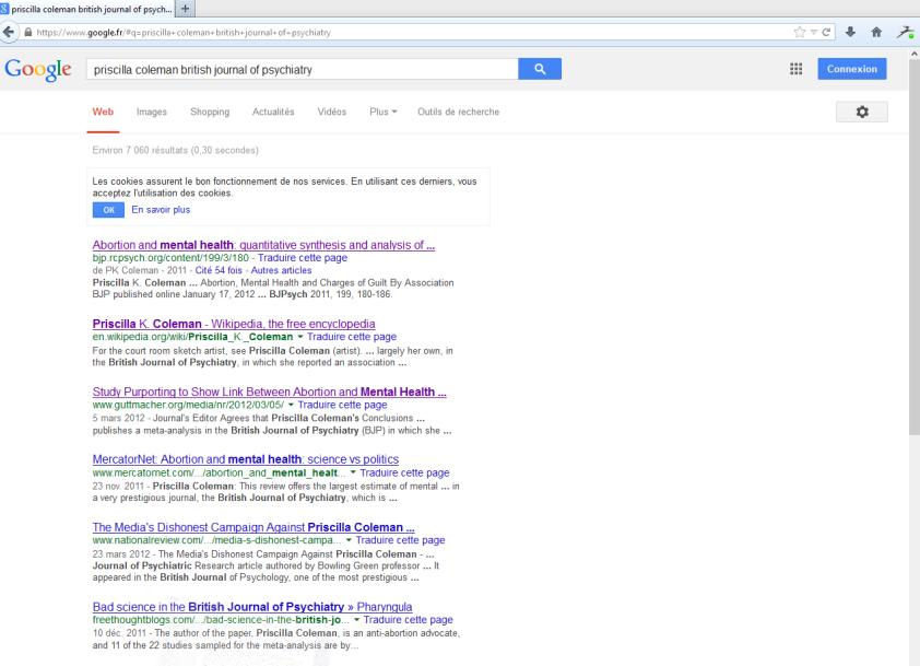 """Capture d'écran pour la recherche Google """"priscilla coleman british journal of psychiatry"""" le 25.01.2014, 18:31."""