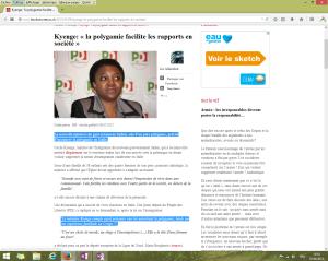 """Capture d'écran du billet intitulé """"Kyenge: « la polygamie facilite les rapports en société »"""" au 1er juin 2014. [Cliquer pour agrandir l'image]"""