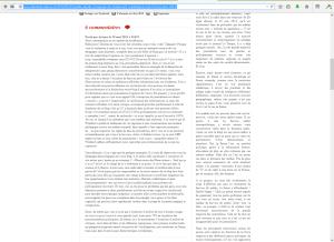 """Capture d'écran de mon commentaire en attente de modération, envoyé au billet intitulé """"Petite étude du traitement médiatique de l'UDC""""."""